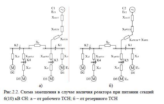 Схема замещения в случае наличия реактора при питании секций