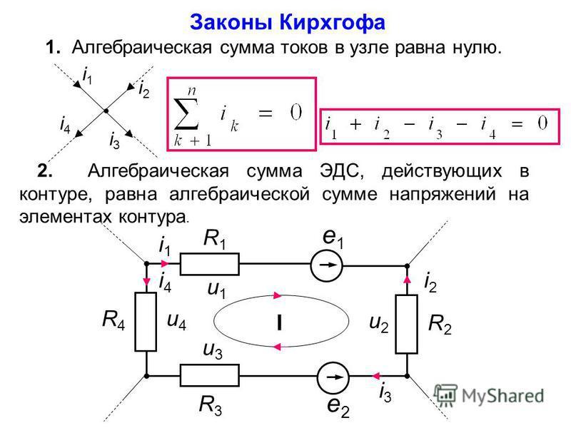 Первый закон Кирхгофа: определение и формула