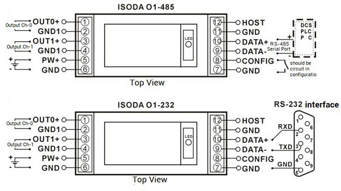 схема подключения rs 485 и rs 232 - распиновка